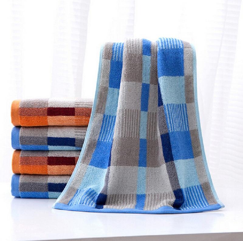 High Quality 100% Cotton Washcloth Men Women Bath Towel Soft Absorbent Check Face Hands Towel 35*73CM(China (Mainland))