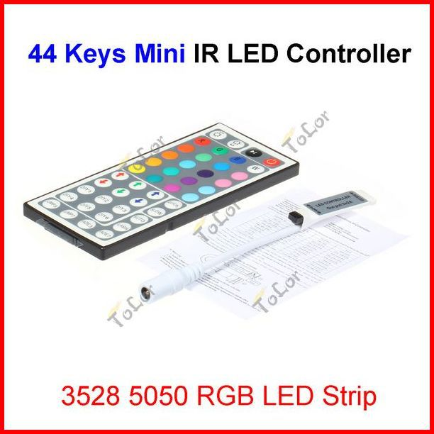( 30 pcs/lot ) 44 Keys Mini Wireless IR Remote RGB LED Controller For 12V 3528 5050 RGB LED Strip Wholesale(China (Mainland))