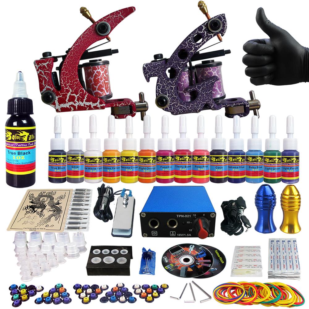 Solong Tattoo Complete Tattoo Kit Beginner 2x Tattoo Machine Guns Power Supply 20 Needles14 Colors Tattoo Inks TK203-39<br><br>Aliexpress