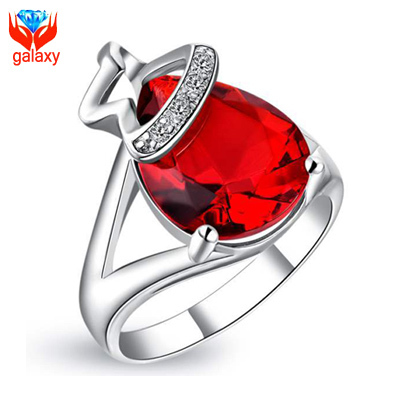 100 Real 925 Sterling Silver Ring With Water Drop Shape Big Red CZ Diamond Ruby Rings