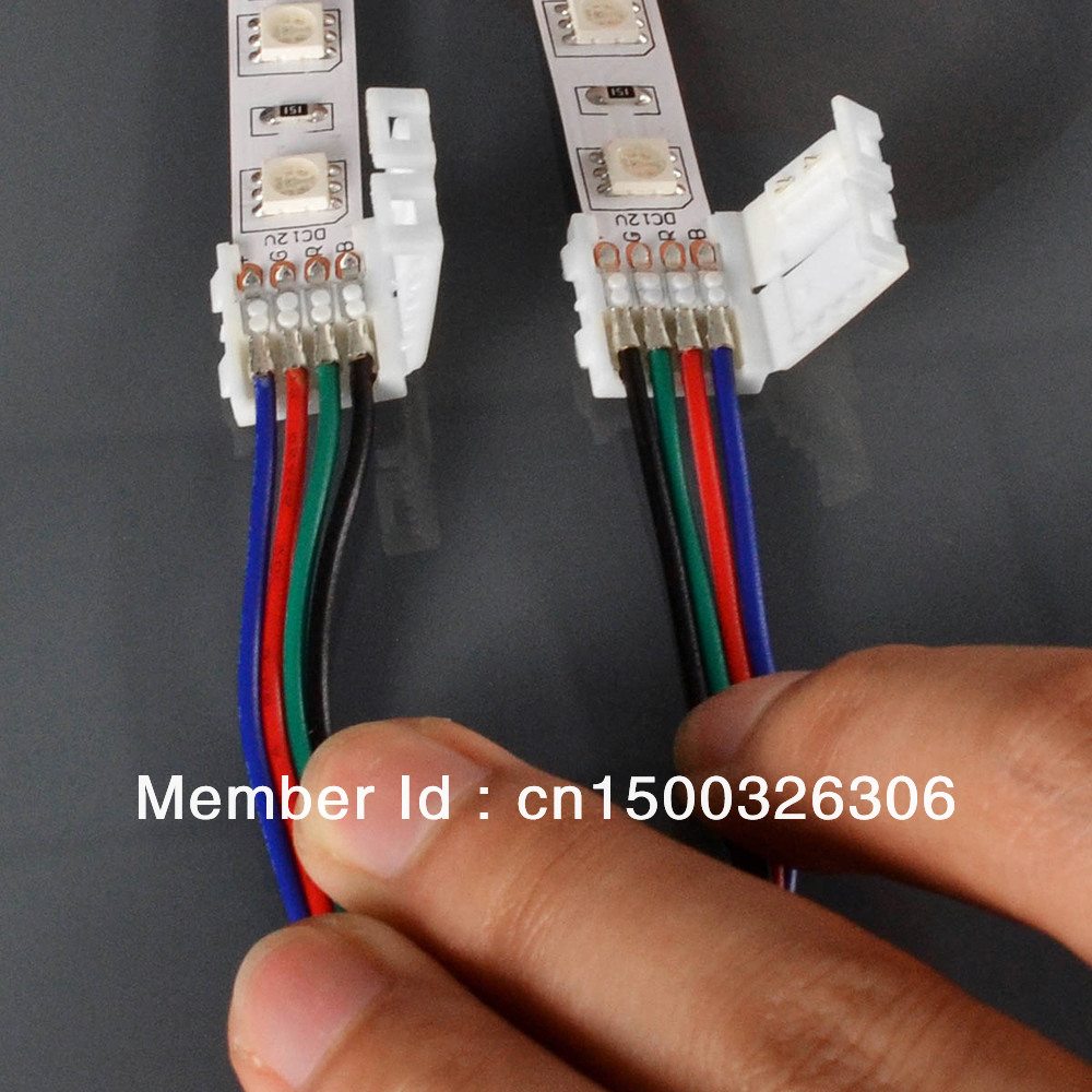 100pcs/a lot  LED Strip Connector with Cable For 5050 10MM 4Pin RGB Strip light , No Welding + HK Free Shipping<br><br>Aliexpress