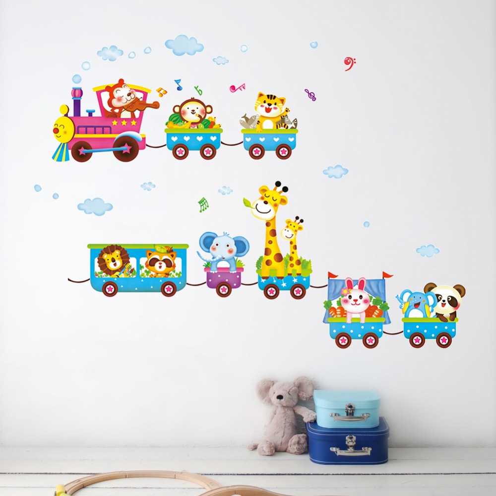 Animal Elephant Train Children Wall Stickers For Kids
