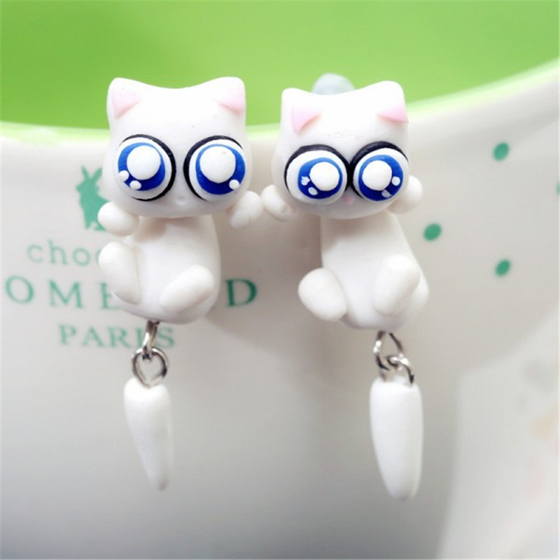 1 pair Creative handmade kids earring with 925 sterling silver Polymer clay cute cat stud earrings for women fashion jewelry #01(China (Mainland))