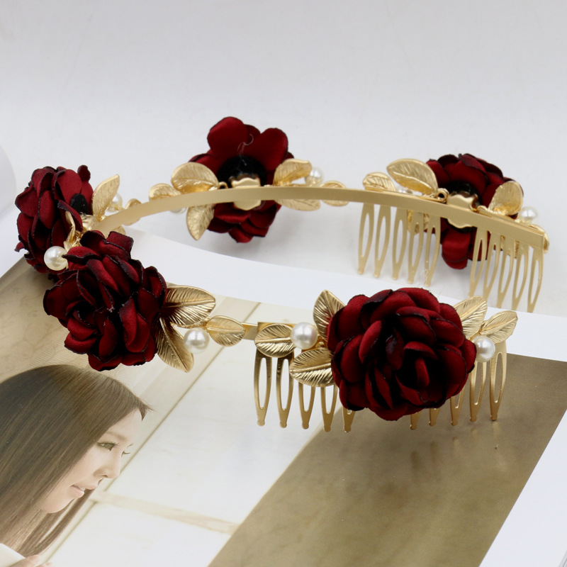 2016 Baroque Red Rose Flower Hair Bands Gold Leaf Crown Headband Hair Accessories Bride Wedding Tiaras Pearl Jewelry Hair Comb(China (Mainland))
