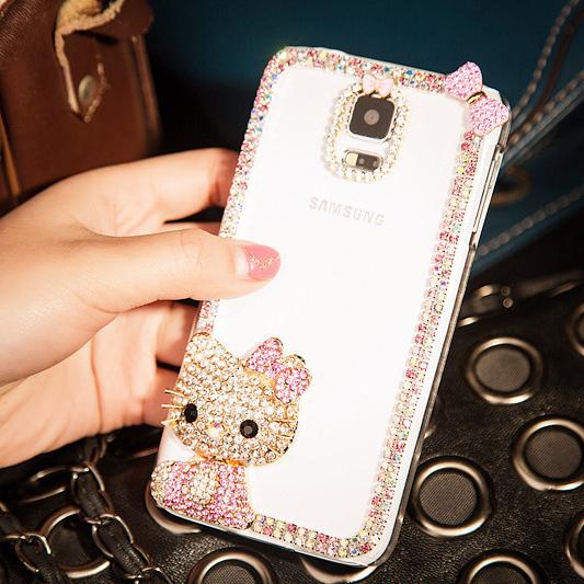 Luxury Full rhinestone diamond shining hello Kitty case for Samsung Galaxy S6 S6 edge S5 S4 clear cover case(China (Mainland))