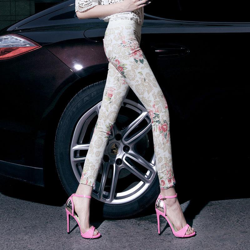 Лето женщины в брюки-карандаш джинсы дамы низкая талия свободного покроя кадрированные брюки джинсы девочки узкие приталенный цветочный джинсы 617