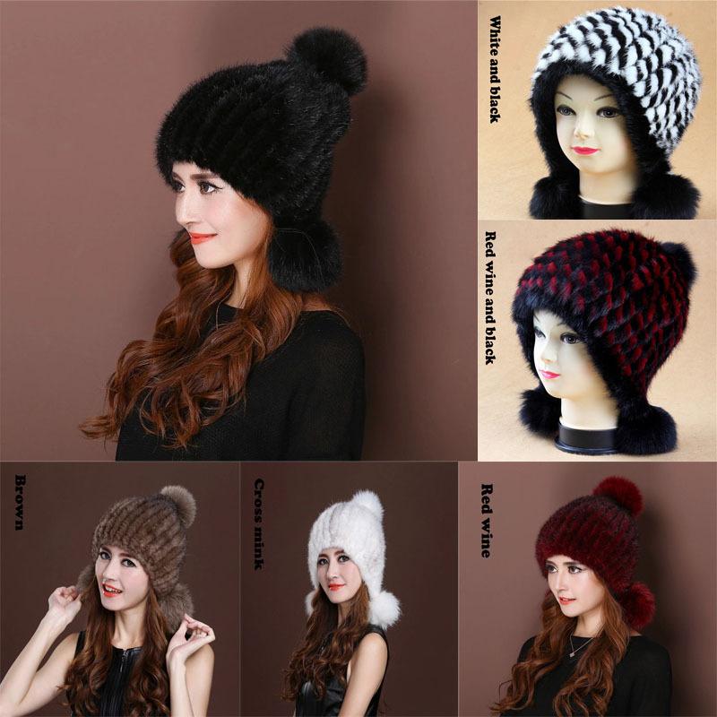 2016 New mink hat Ladies fashion Fox fur ball fur hat Mink knit hats Casual mink hat Female Headgear(China (Mainland))