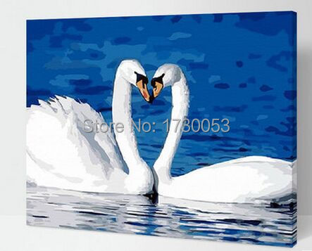 acrylic paint oil painting by numbers swan painting for home decor loving heart G084(China (Mainland))