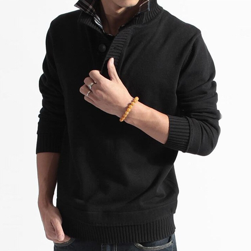 Men Sweater Solid Cotton Knitted Turn Down Collar Winter Spring Fashion Casual Pullovers Full Sleeves Men Sweaters Clothing(China (Mainland))