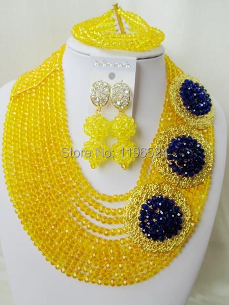 Luxury    Crystal  Necklaces Bracelet Earrings African Nigerian Wedding Beads Jewelry Set  A-8804<br><br>Aliexpress