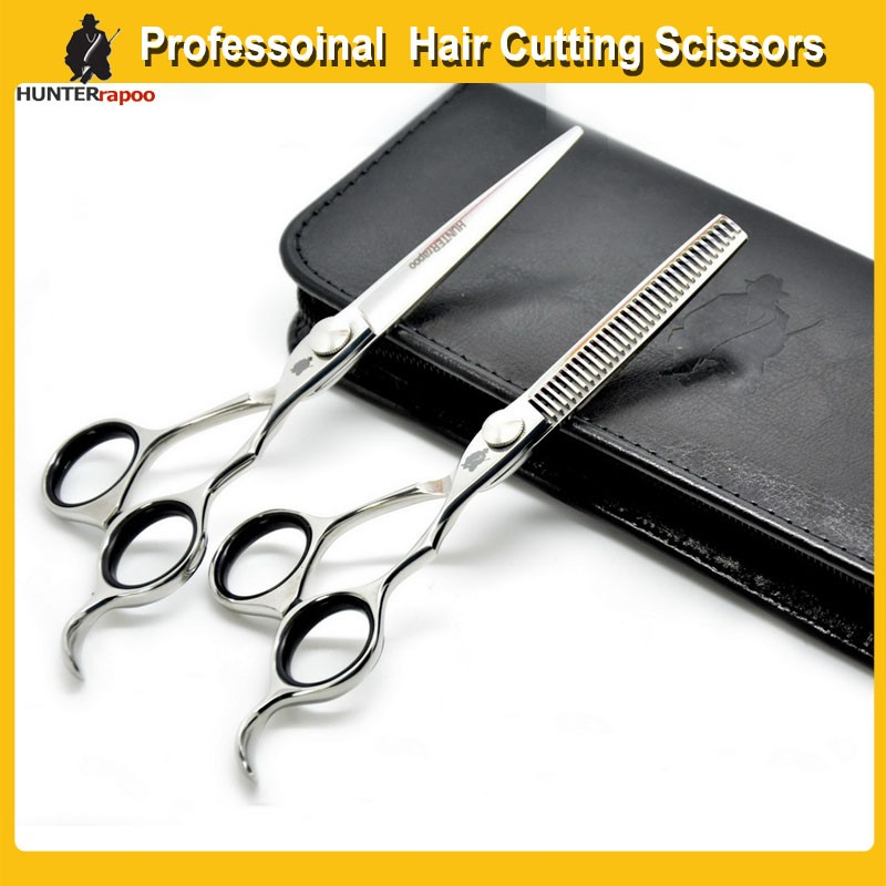 5%OFF HUNTERrapoo 6.0 inch Professional Hair Scissors set Teeth Thining Scissor Flat Shears Barber Hairdressing Haircut Scissors