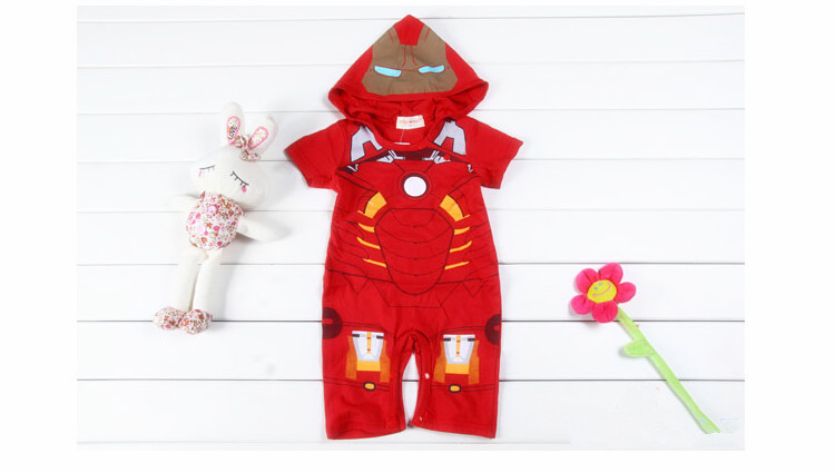 Free shipping !2015 new Captain America, Iron Man style baby Romper, baby cotton short-sleeved Romper climbing clothes.xx236