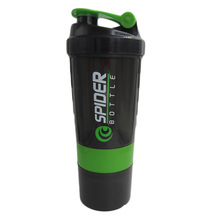 Hot sales! New Spider protein shaker 3 in 1 Sports water bottle with inserted mixing ball 4 Color 500ml(China (Mainland))