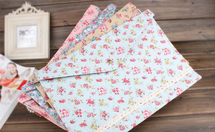floral fabrics paper a4 documents file bag cloth art file folder essential office supplies a4 paper file folder