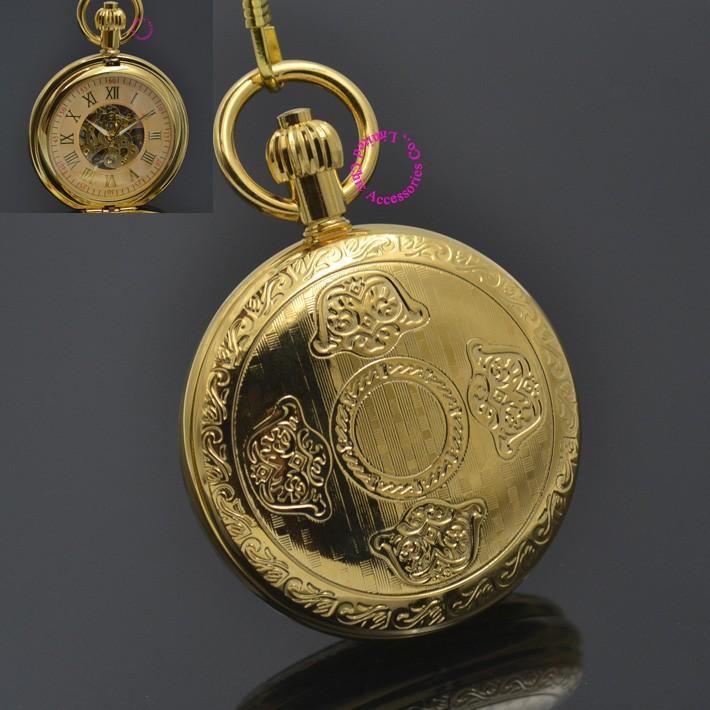 men mechanical pocket watch roman classic fob watches flower design Ingots Wealth gold ipg plating copper brass case snake chain - garden store