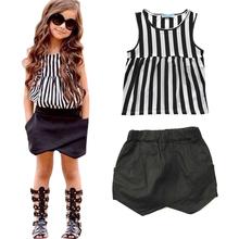 The new 2015 children casual girl summer striped shirt + shorts set free shipping(China (Mainland))