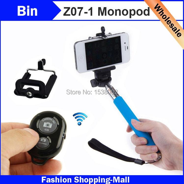 Z07-1 Extendable Monope Bluetooth Remoter Shutter with Phone Clip Vara Para Extensivel Cabo Haste Pau Extensor de Selfie Monopad(China (Mainland))