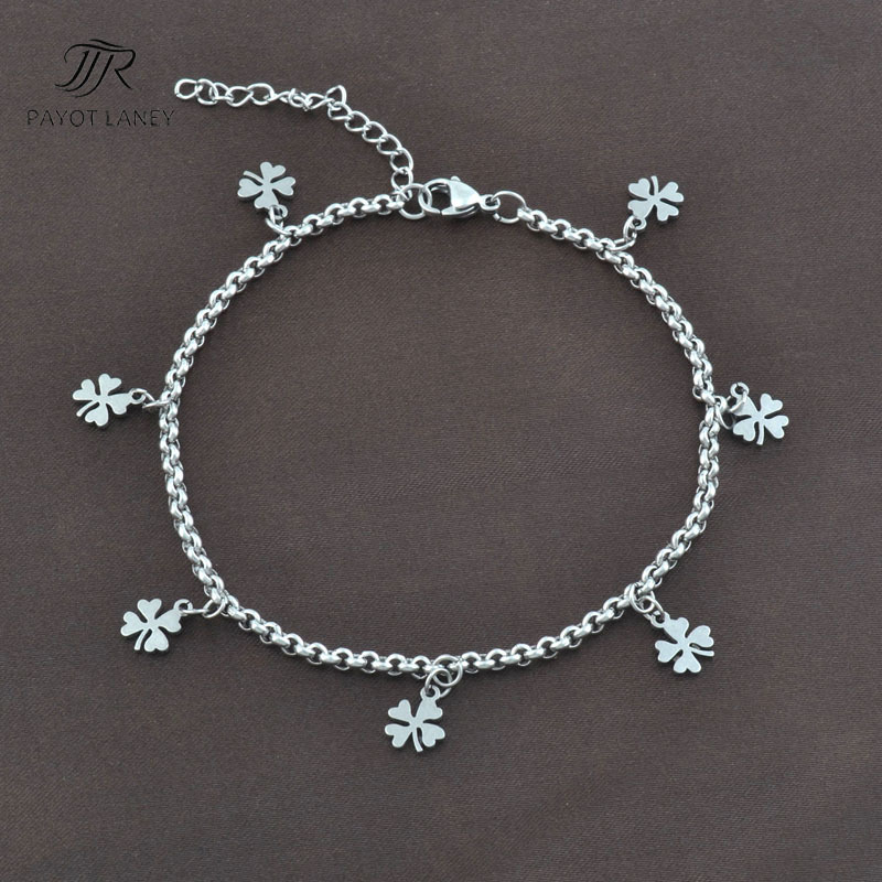 Stainless Steel Anklet 4 leaf clover Anklet Chain Foot Jewelry Ankle Bracelet Anklet-6(China (Mainland))