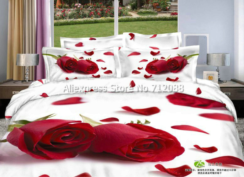 fashion design cotton red rose flower floral pattern white bedlinen 4pc queen/full bedding sets comforter/quilt/duvet covers(China (Mainland))
