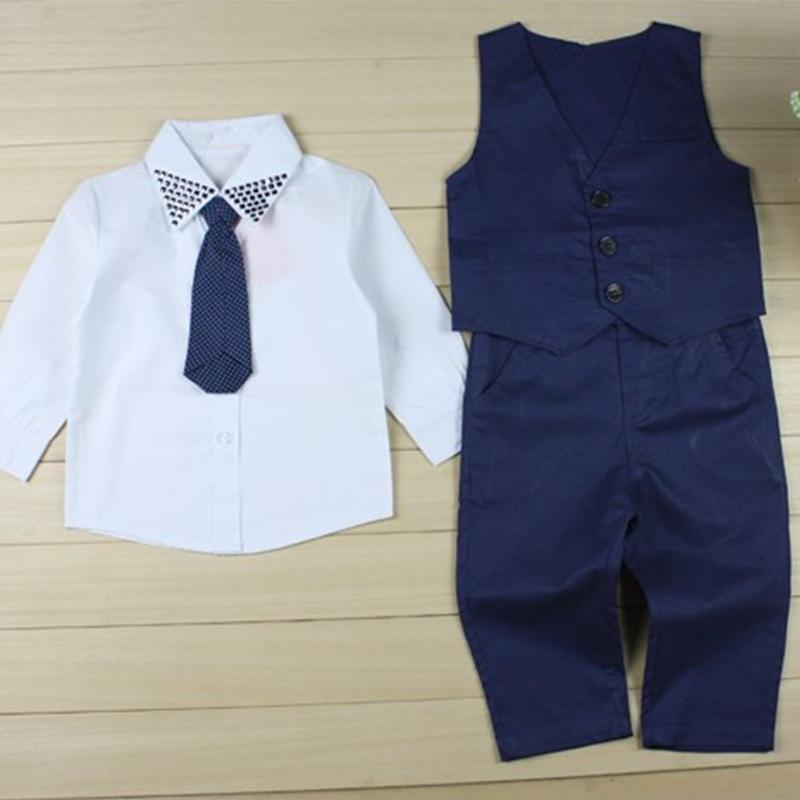 3 peças de outono 2015 crianças de lazer conjuntos de roupas crianças menino terno colete cavalheiro roupas para roupas de casamento formal
