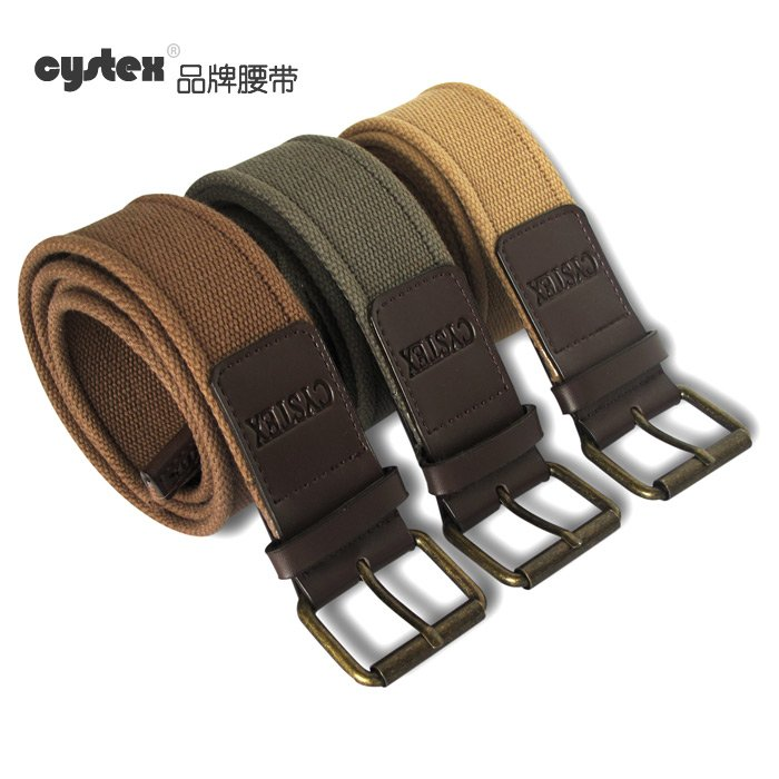 Belt For Men Belts Brand Belt Buckle 100%Cotton Canvas PU Patch Leather Pole Button Hight Quality Fit Waist Circle 80-108cm(China (Mainland))