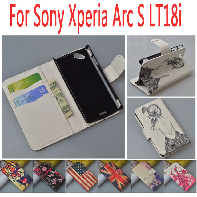 Leather case for Sony Ericsson Xperia Arc S LT18i / LT LT18 18 18I I flip cover For Sony X12 Xperia Arc LT15i phone covers cases(China (Mainland))