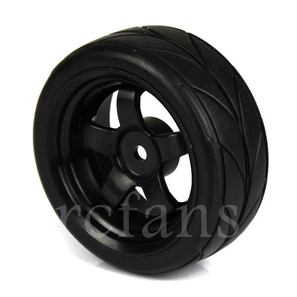 A2A1 RC 1:10 On Road Car 5 Spoke Wheel Rims & Tires Plastic + Rubber 4pcs Black