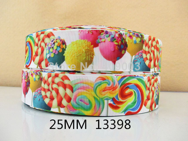 """10Y13398 free shipping 1"""" printed Grosgrain ribbon pictures candy pattern diy headwear ribbon and bow garment accessories(China (Mainland))"""