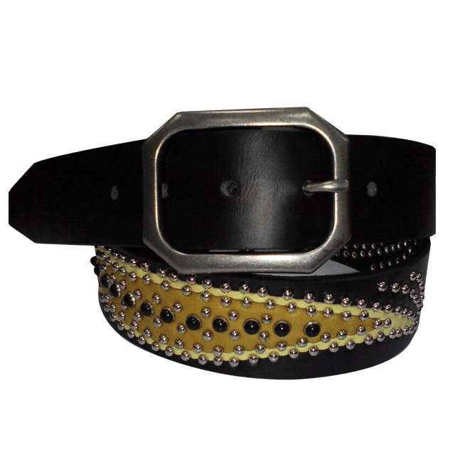 bollywood indian famous films Salman khan Silver buckle bling western golden leaf studded mexican leather belts(China (Mainland))