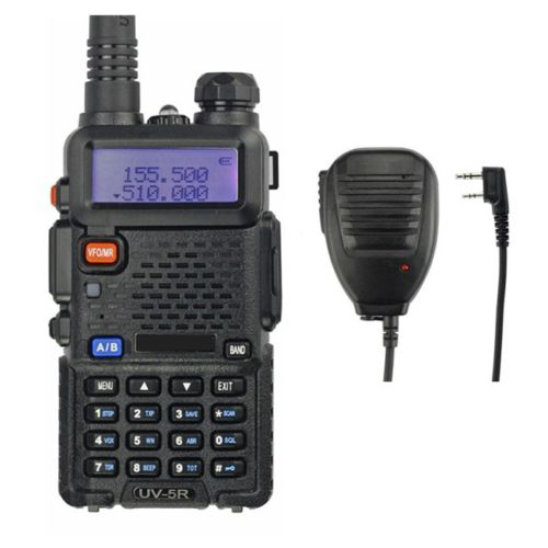 Baofeng UV-5R Kit 136-174/400-520MHz 2M/70cm Walkie Talkie 5W UHF&VHF Dual Band Portable Ham Radio + Remote Speaker uv5r(China (Mainland))