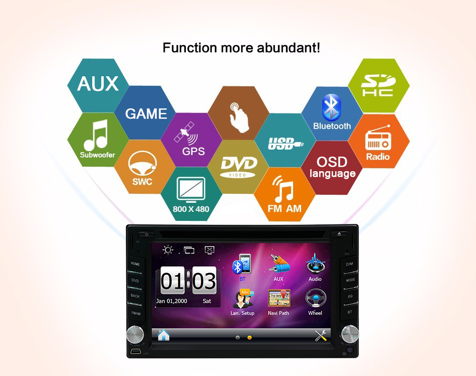 Touch Screen Car DVD Player 6.2inch 2 din GPS Navi Car headunit Stereo Car Radio Bluetooth Car Video Audio Player FM AM+SD Card(China (Mainland))