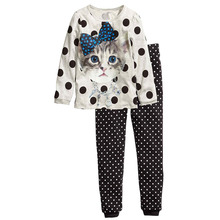 2015 Brand New Pyjamas Kids 100% Cotton Casual Full Sleeve Lovely Cat Print Pajamas For Girls 2Pcs Children Clothing Set Clothes(China (Mainland))