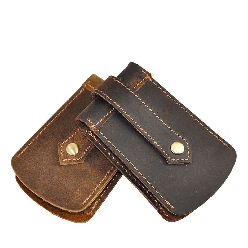 Vintage men handmade buckle leather key holder,car wallet key bag , pull-out genuine leather key pouch(China (Mainland))
