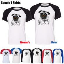 Frank The Pug Mib Men In Black Dog Animal Design Printed T-Shirt Men's Boy's Graphic Tee Tops Blue or Black Sleeve