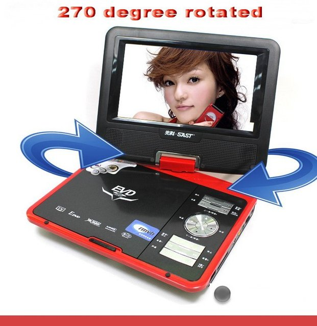 2pcs/lot 7 inch TV television RMVB/AVI player portable DVD player