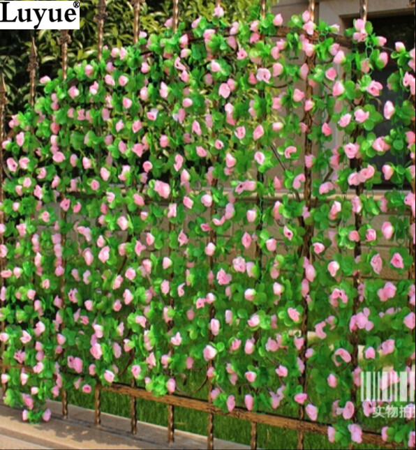 5pcs/lot New 2.25M Long Artificial Flower Rose Leaf Vine Ivy Garland Wall Home Party Garden Decor(China (Mainland))