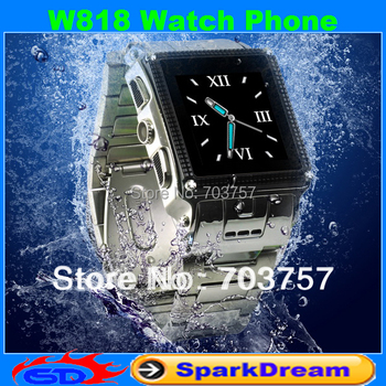 W818 Stainless Steel Waterproof watch mobile phone(Prevents domestic water,can`t Swimming)