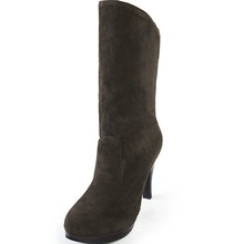 2 Styles Wome Half Knee High Boots Flock Pointed toe Black Brown Women Mid Calf Boots Autumn Winter Women Shoes Botas