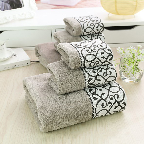 Euro style elegant decorative pattern 100% cotton fabric small +big+ bath towels set adults Eco-Fashion soft towel WXT764(China (Mainland))
