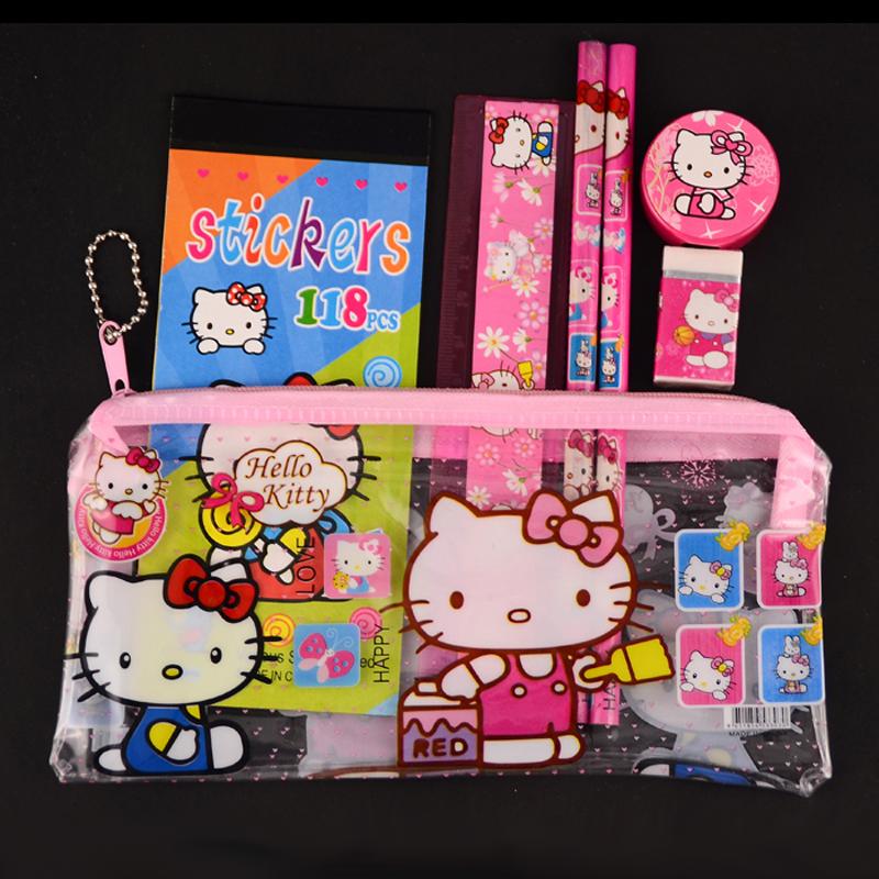 1 set hello kitty pencil case for girls cute cartoon kids school supplies kawaii stationery set student gift estojo escolar(China (Mainland))