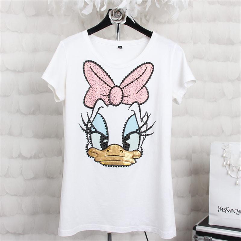 2016 New Summer Style Fashion Diamond Sequin Donald Duck T Shirts Women High Quality Cotton Slim Casual Women T-Shirt Tops S-4XL(China (Mainland))