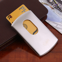 1 Piece Business Card Holder Vogue Thumb Slide Out Stainless Steel Pocket ID Credit Card Holder Case Men(China (Mainland))
