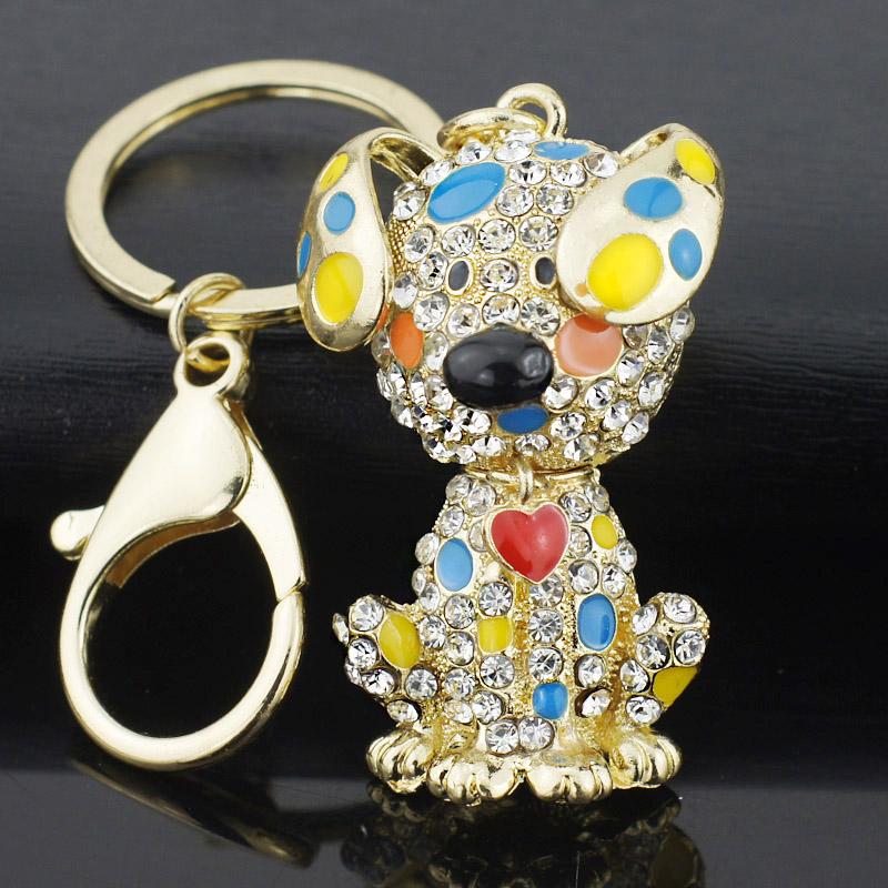 Enamel Dalmatian Dog Red Heart Crystal HandBag Pendant Keyrings Keychains For Car key chains holder women K149(China (Mainland))