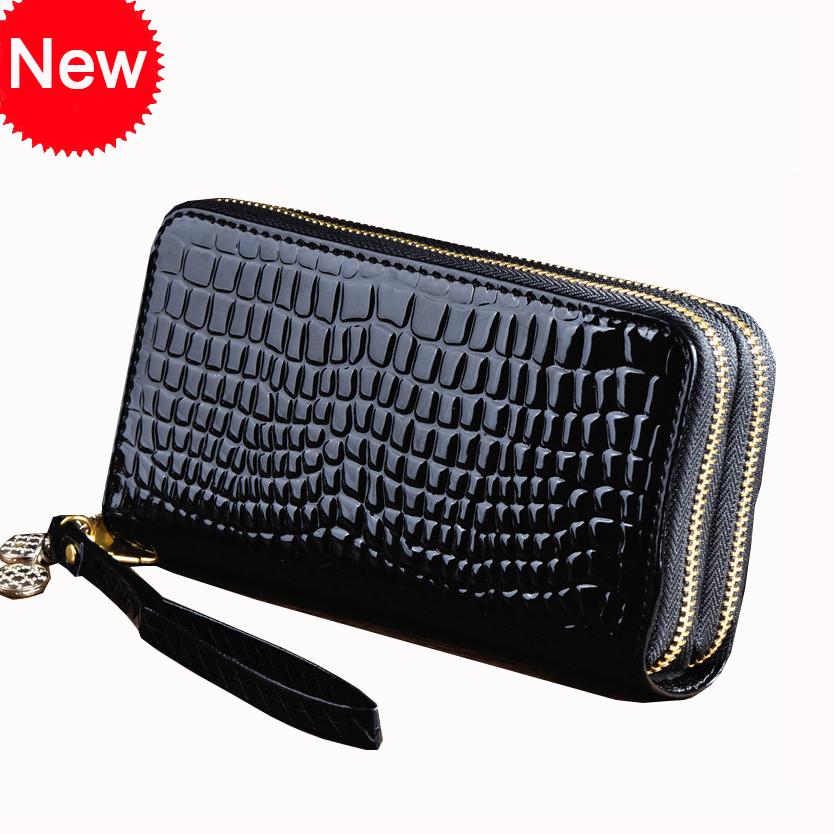 handbag korea style Wholesale women fashion 2 zipper Day clutches pu leather crocodile grain small handbag(China (Mainland))
