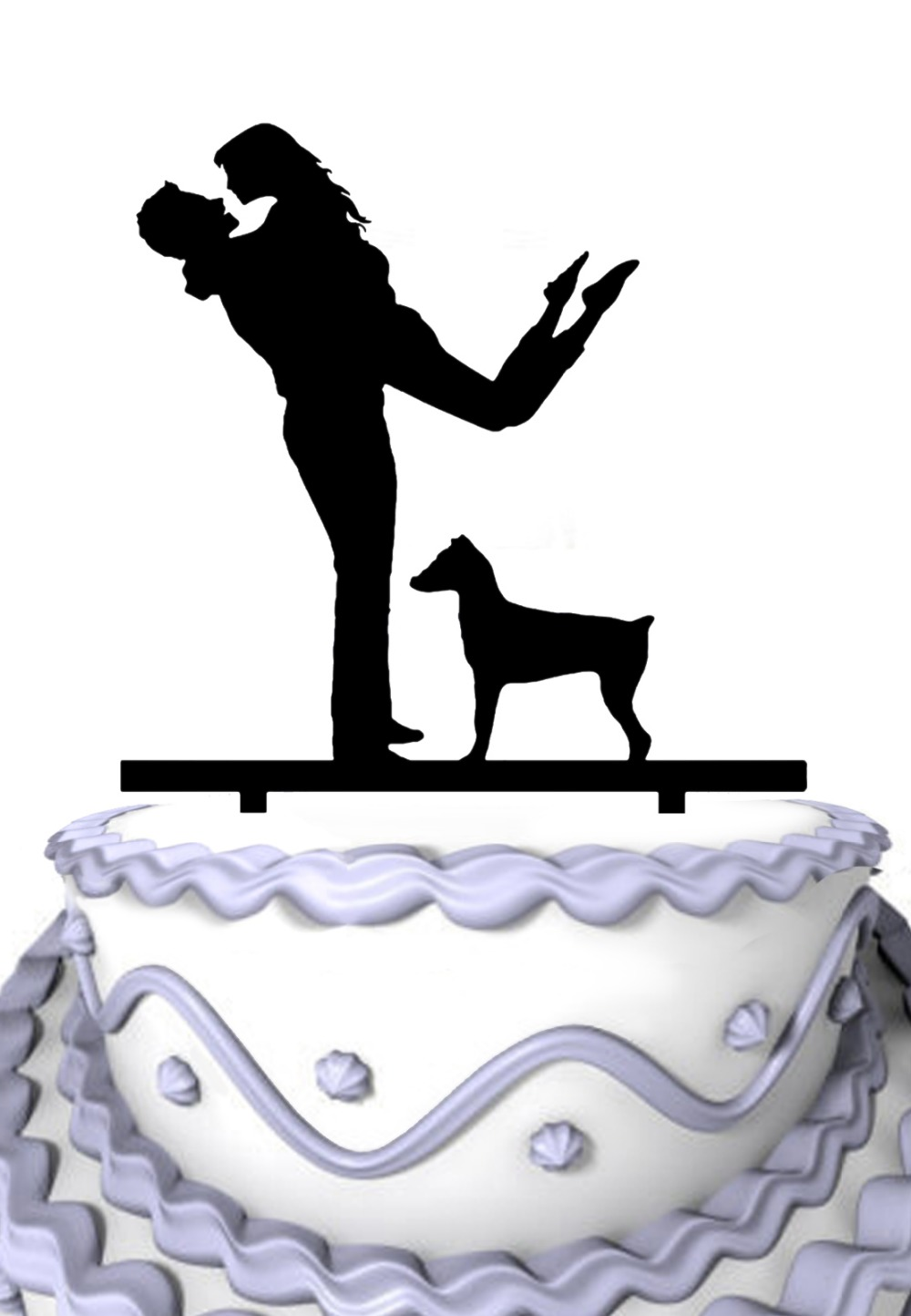 Custom Wedding Cake Topper-Husband Folding Happy Wife with Tame Dog Silhouette Anniversary Cake Topper(China (Mainland))