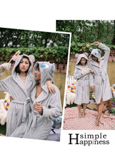 new arrival Cute couple cozy flannel pajamas tracksuit bathrobe couple robes(China (Mainland))