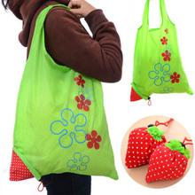 Folding Recycled Eco Shopping BAG Tote Beach Handbag Erdbeer Compact Pouch KAKI