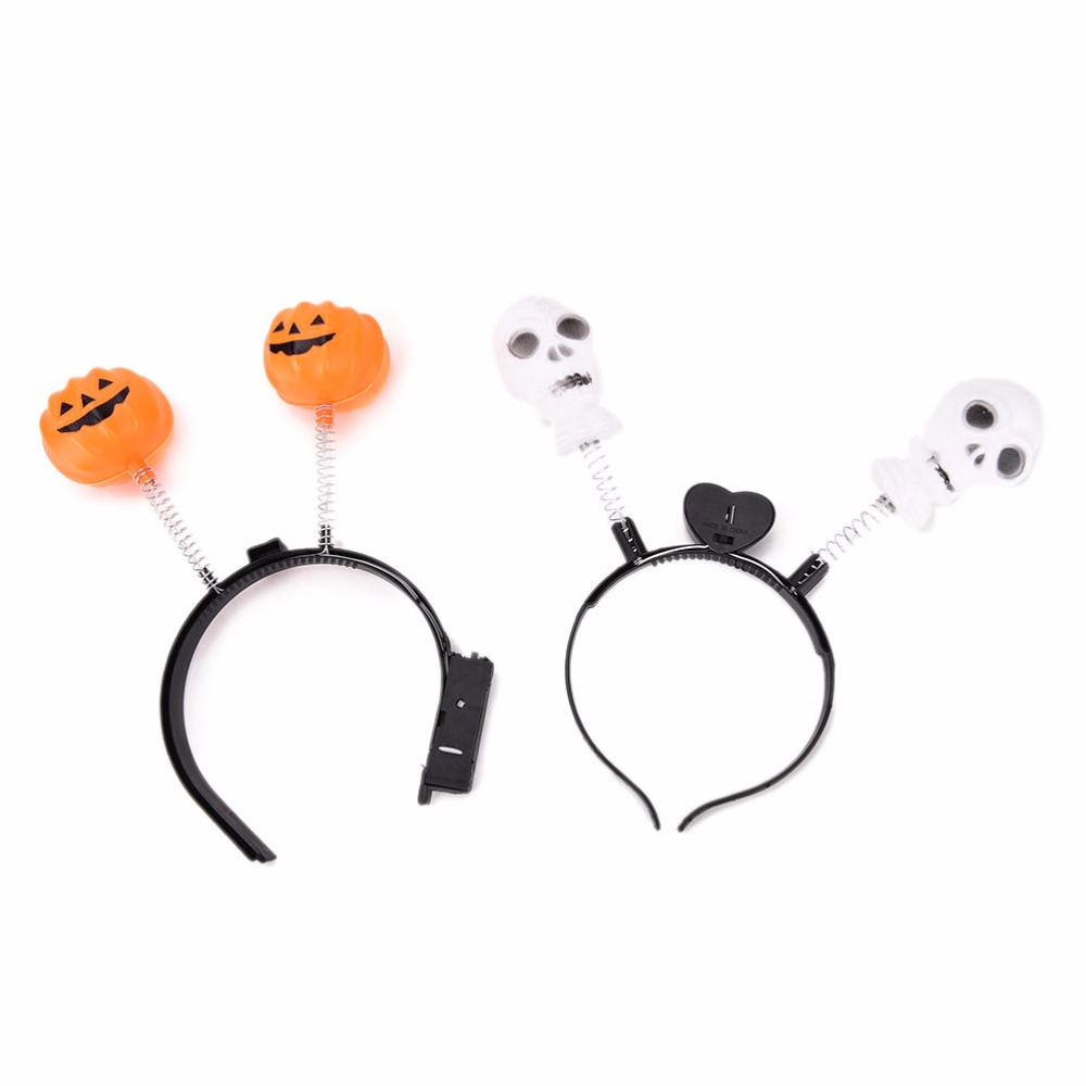 1pcs new led light up hairband headband pumpkin skull flashing party xmas gift halloween decoration wholesale