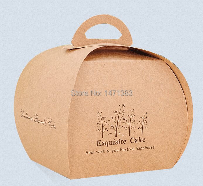 Size 7.5*9*9 cm Kraft paper cake box packaging, Paper cake box with handle,food hamburger packaging box(China (Mainland))