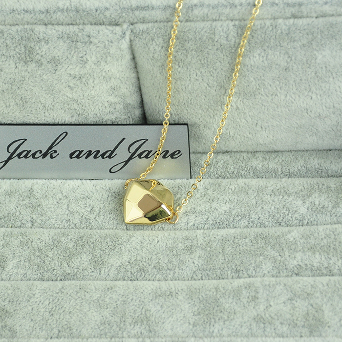 Jack&Jane F21 alloy Rhombus cut surface kingdom hearts forever 18K fine gold necklace short women(China (Mainland))